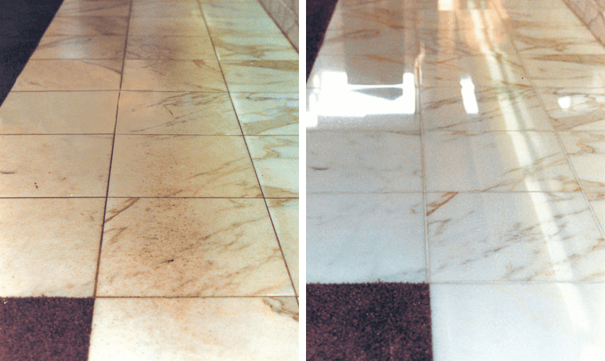 Detail of a badly worn White Carrara marble flooring located in front of a bank teller counter in Southern New Jersey doesn't even look like the same flooring after being Diamond Refinished and Polished back to its original high shine!