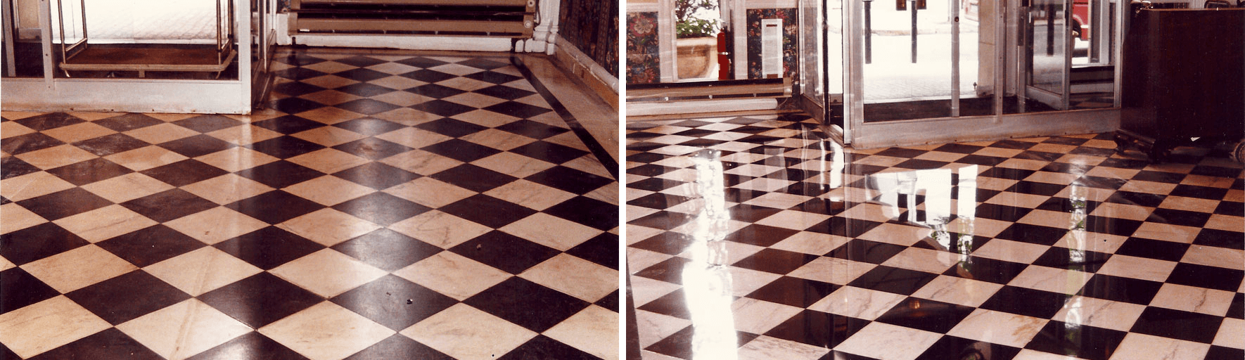 Refinished Belgium Black and Danbigh White marble flooring graces the lobby flooring of a Rittenhouse Square building.